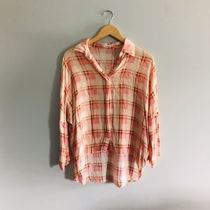 Blu Pepper Pink & Creme Plaid High Low Blouse